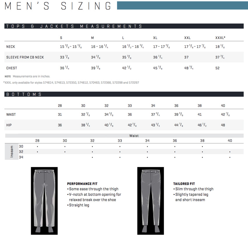PUMA Golf Men's Sizing Chart