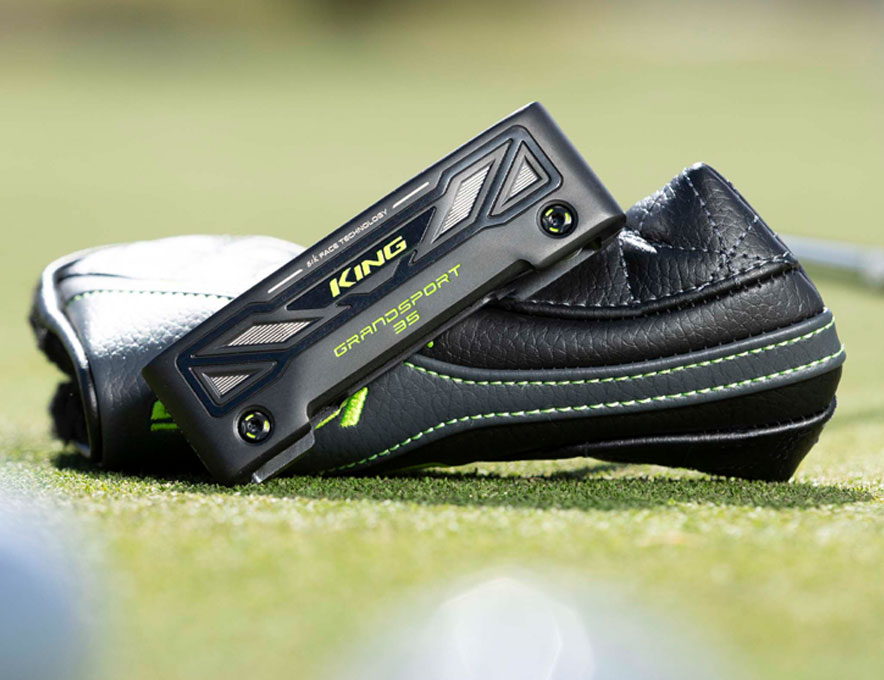 Putter posed in grass with headcover